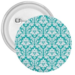 White On Turquoise Damask 3  Button