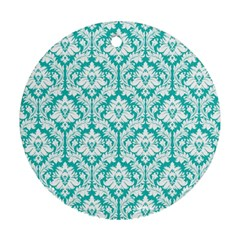 White On Turquoise Damask Round Ornament