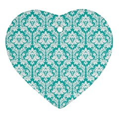 White On Turquoise Damask Heart Ornament