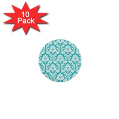 White On Turquoise Damask 1  Mini Button (10 pack)