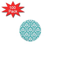 White On Turquoise Damask 1  Mini Button (100 pack)