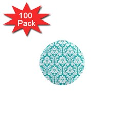 White On Turquoise Damask 1  Mini Button Magnet (100 pack)