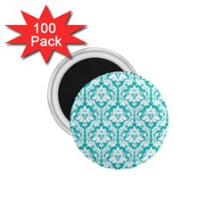 White On Turquoise Damask 1.75  Button Magnet (100 pack)