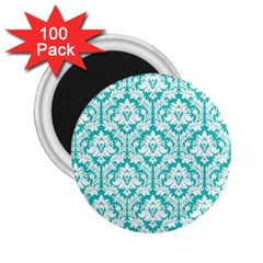 White On Turquoise Damask 2.25  Button Magnet (100 pack)
