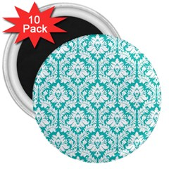 White On Turquoise Damask 3  Button Magnet (10 Pack)