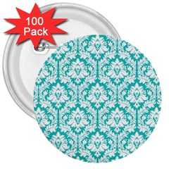 White On Turquoise Damask 3  Button (100 pack)
