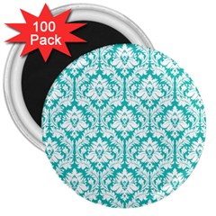 White On Turquoise Damask 3  Button Magnet (100 pack)