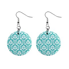 Turquoise Damask Pattern 1  Button Earrings