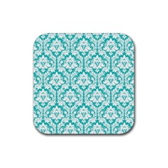 White On Turquoise Damask Drink Coasters 4 Pack (Square)