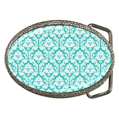 White On Turquoise Damask Belt Buckle (Oval)