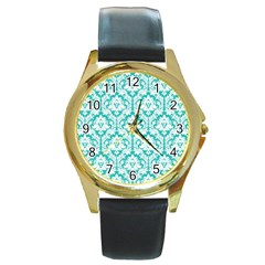 White On Turquoise Damask Round Leather Watch (Gold Rim)