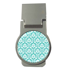 White On Turquoise Damask Money Clip (round)