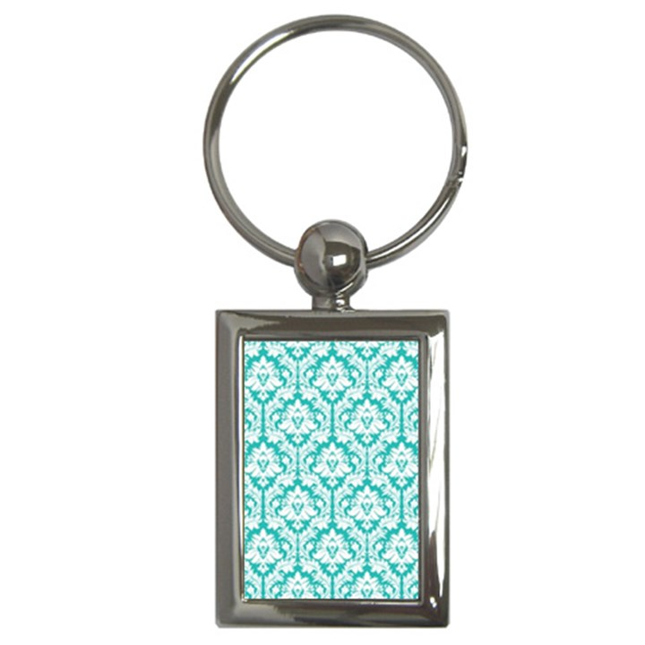 White On Turquoise Damask Key Chain (Rectangle)