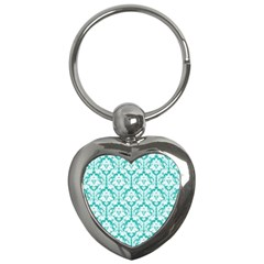 White On Turquoise Damask Key Chain (Heart)