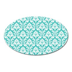 White On Turquoise Damask Magnet (Oval)