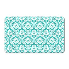 White On Turquoise Damask Magnet (Rectangular)