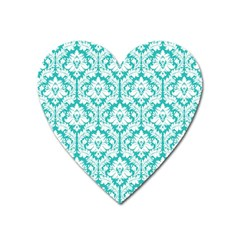 White On Turquoise Damask Magnet (heart)