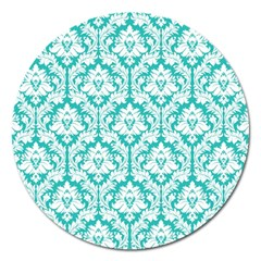 White On Turquoise Damask Magnet 5  (Round)