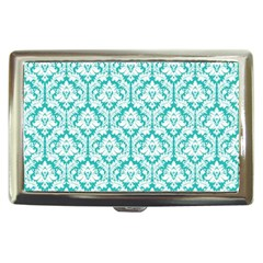White On Turquoise Damask Cigarette Money Case