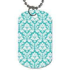 White On Turquoise Damask Dog Tag (Two-sided)
