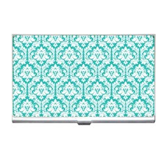 White On Turquoise Damask Business Card Holder