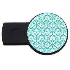 White On Turquoise Damask 2gb Usb Flash Drive (round)