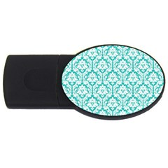 White On Turquoise Damask 1GB USB Flash Drive (Oval)
