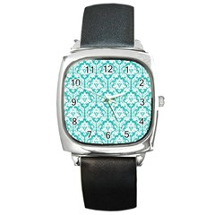 White On Turquoise Damask Square Leather Watch