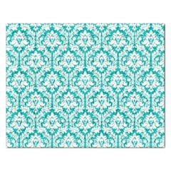 White On Turquoise Damask Jigsaw Puzzle (Rectangle)
