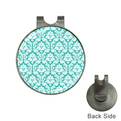 White On Turquoise Damask Hat Clip with Golf Ball Marker