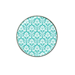 White On Turquoise Damask Golf Ball Marker 4 Pack (for Hat Clip)