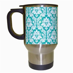 White On Turquoise Damask Travel Mug (White)