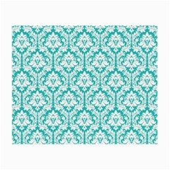 White On Turquoise Damask Glasses Cloth (Small)