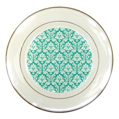 White On Turquoise Damask Porcelain Display Plate