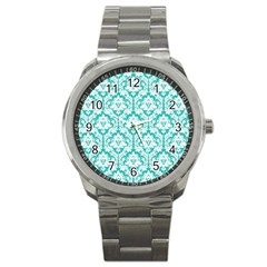 White On Turquoise Damask Sport Metal Watch