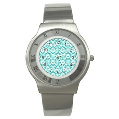 White On Turquoise Damask Stainless Steel Watch (slim)