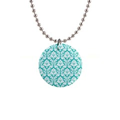 Turquoise Damask Pattern 1  Button Necklace