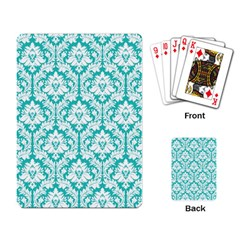 White On Turquoise Damask Playing Cards Single Design