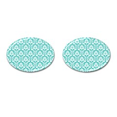 White On Turquoise Damask Cufflinks (oval)