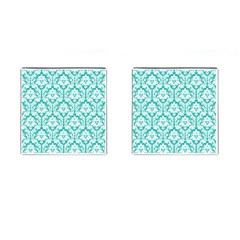 White On Turquoise Damask Cufflinks (Square)
