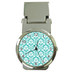 White On Turquoise Damask Money Clip With Watch