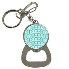 White On Turquoise Damask Bottle Opener Key Chain
