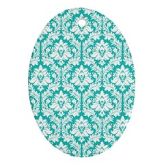 White On Turquoise Damask Oval Ornament (Two Sides)