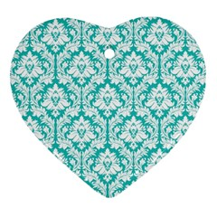White On Turquoise Damask Heart Ornament (Two Sides)