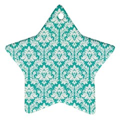 White On Turquoise Damask Star Ornament (Two Sides)