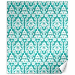 White On Turquoise Damask Canvas 8  x 10  (Unframed)