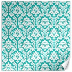 White On Turquoise Damask Canvas 12  X 12  (unframed)