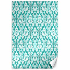 White On Turquoise Damask Canvas 12  x 18  (Unframed)