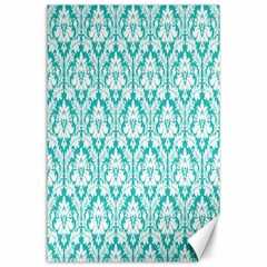 White On Turquoise Damask Canvas 24  x 36  (Unframed)