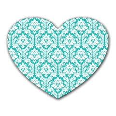 White On Turquoise Damask Mouse Pad (heart)